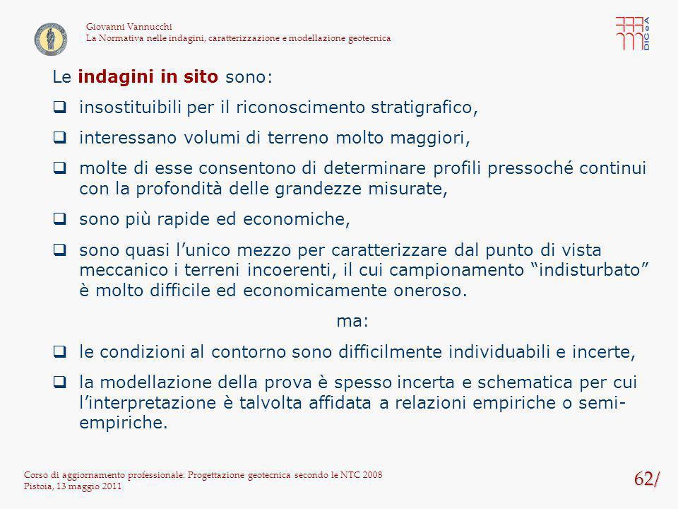 62/ Corso di aggiornamento professionale: Progettazione geotecnica secondo le NTC 2008 Pistoia, 13 maggio 2011 Giovanni Vannucchi La Normativa nelle i