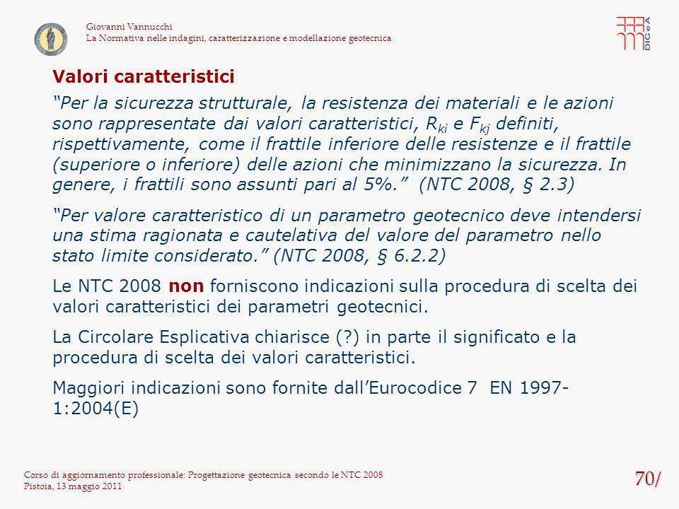 70/ Corso di aggiornamento professionale: Progettazione geotecnica secondo le NTC 2008 Pistoia, 13 maggio 2011 Giovanni Vannucchi La Normativa nelle i