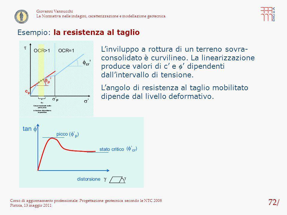 72/ Corso di aggiornamento professionale: Progettazione geotecnica secondo le NTC 2008 Pistoia, 13 maggio 2011 Giovanni Vannucchi La Normativa nelle i