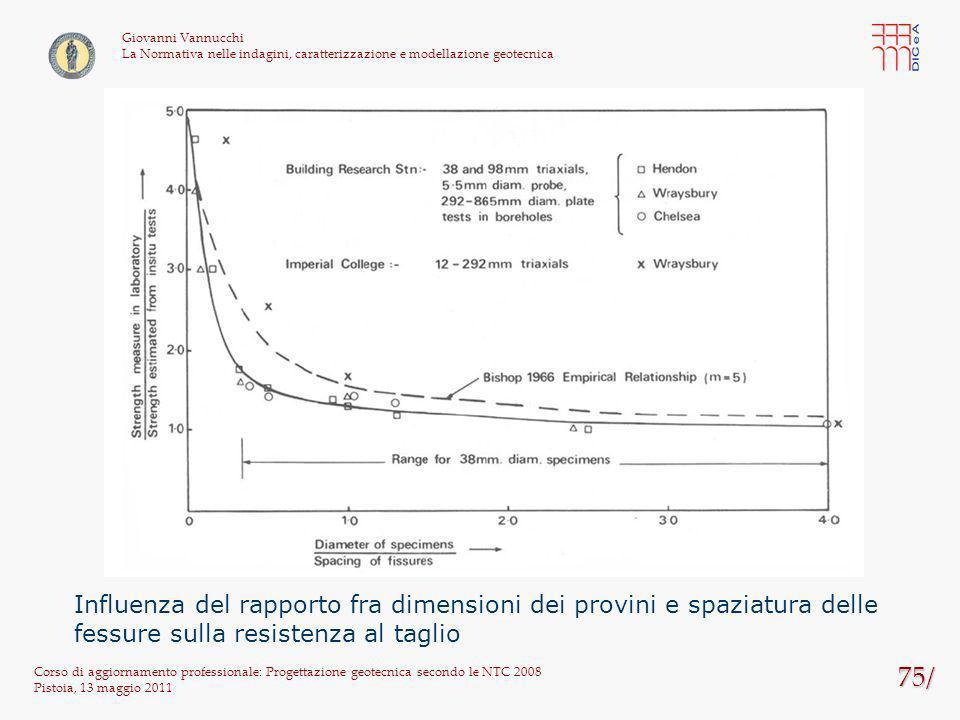 75/ Corso di aggiornamento professionale: Progettazione geotecnica secondo le NTC 2008 Pistoia, 13 maggio 2011 Giovanni Vannucchi La Normativa nelle i