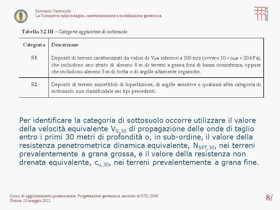 109/ Corso di aggiornamento professionale: Progettazione geotecnica secondo le NTC 2008 Pistoia, 13 maggio 2011 Giovanni Vannucchi La Normativa nelle indagini, caratterizzazione e modellazione geotecnica La verifica è eseguita con riferimento al punto A di figura Perdita di carico h = (D m + h w,m ) – (D v + h w,m ) = (8+3) – (5+2) = 4 m Lunghezza di filtrazioneL = D m + D v = 8+5 = 11 m Gradiente idraulicoi = h / L = 4 / 11 = 0,308 Valore caratteristico della pressione interstiziale instabilizzante u inst,k = w x [h w,v + D v (1 + i)] = 10 x [2 + 5 x (1 + 0,308)] = 85,4 kPa Valore caratteristico della tensione verticale totale stabilizzante stb,k = w x h w,v + sat,k x D v = 10 x 2 + 18 x 5 = 110 kPa Valore di progetto della pressione interstiziale instabilizzante u inst,d = u inst,k x G1 = 85,4 x 1,3 = 111 kPa Valore di progetto della tensione verticale totale stabilizzante stb,d = stb,k x G1 = 110 x 0,9 = 99 kPa u inst,d > stb,d la verifica non è soddisfatta