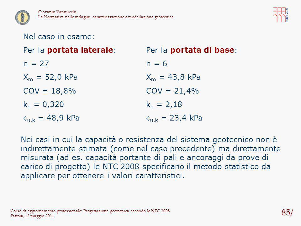 85/ Corso di aggiornamento professionale: Progettazione geotecnica secondo le NTC 2008 Pistoia, 13 maggio 2011 Giovanni Vannucchi La Normativa nelle i