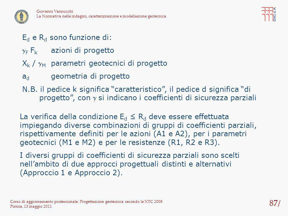87/ Corso di aggiornamento professionale: Progettazione geotecnica secondo le NTC 2008 Pistoia, 13 maggio 2011 Giovanni Vannucchi La Normativa nelle i
