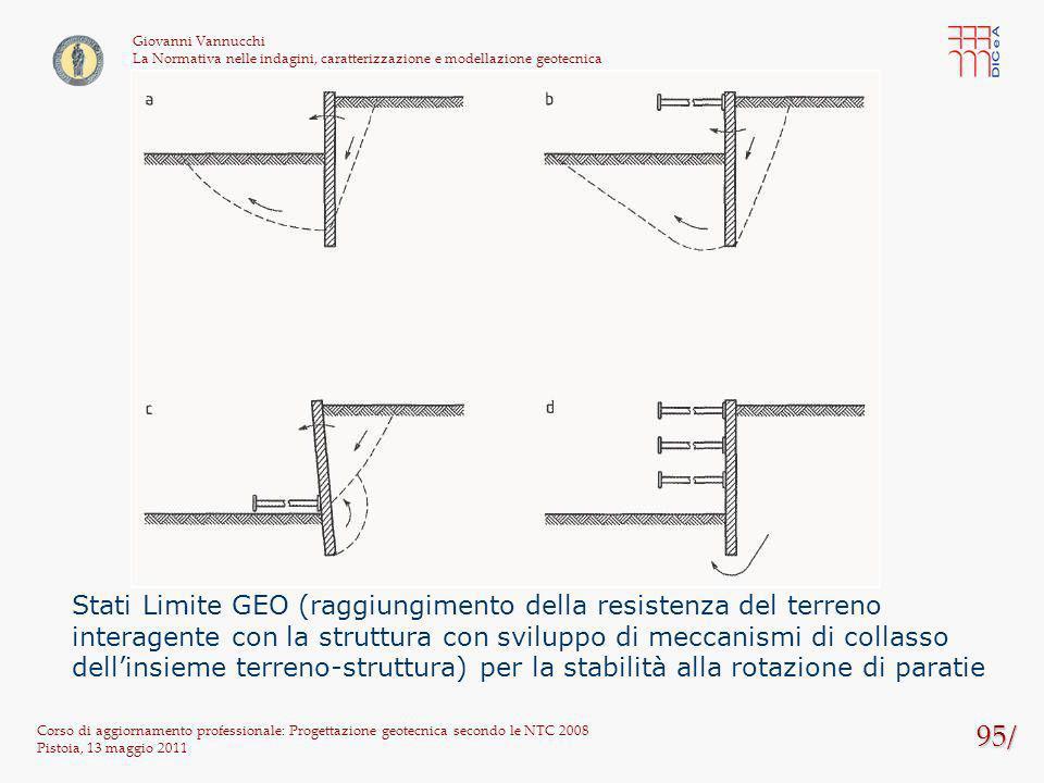 95/ Corso di aggiornamento professionale: Progettazione geotecnica secondo le NTC 2008 Pistoia, 13 maggio 2011 Giovanni Vannucchi La Normativa nelle i