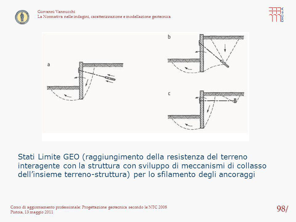 98/ Corso di aggiornamento professionale: Progettazione geotecnica secondo le NTC 2008 Pistoia, 13 maggio 2011 Giovanni Vannucchi La Normativa nelle i