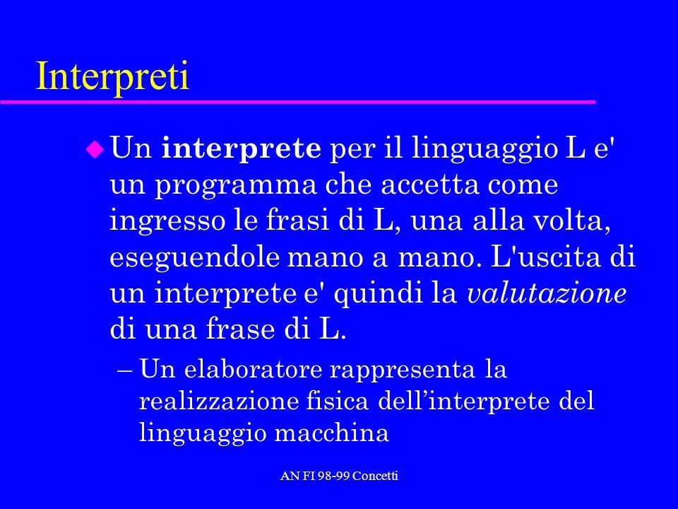 AN FI 98-99 Concetti Interpreti u Un interprete per il linguaggio L e' un programma che accetta come ingresso le frasi di L, una alla volta, eseguendo
