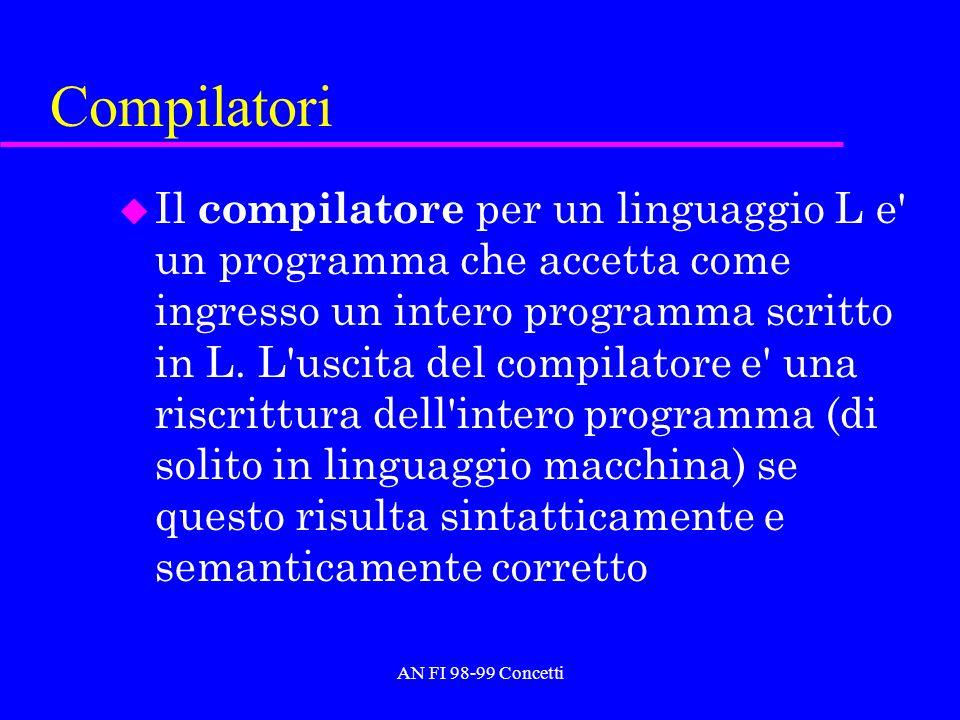 AN FI 98-99 Concetti Compilatori u Il compilatore per un linguaggio L e' un programma che accetta come ingresso un intero programma scritto in L. L'us
