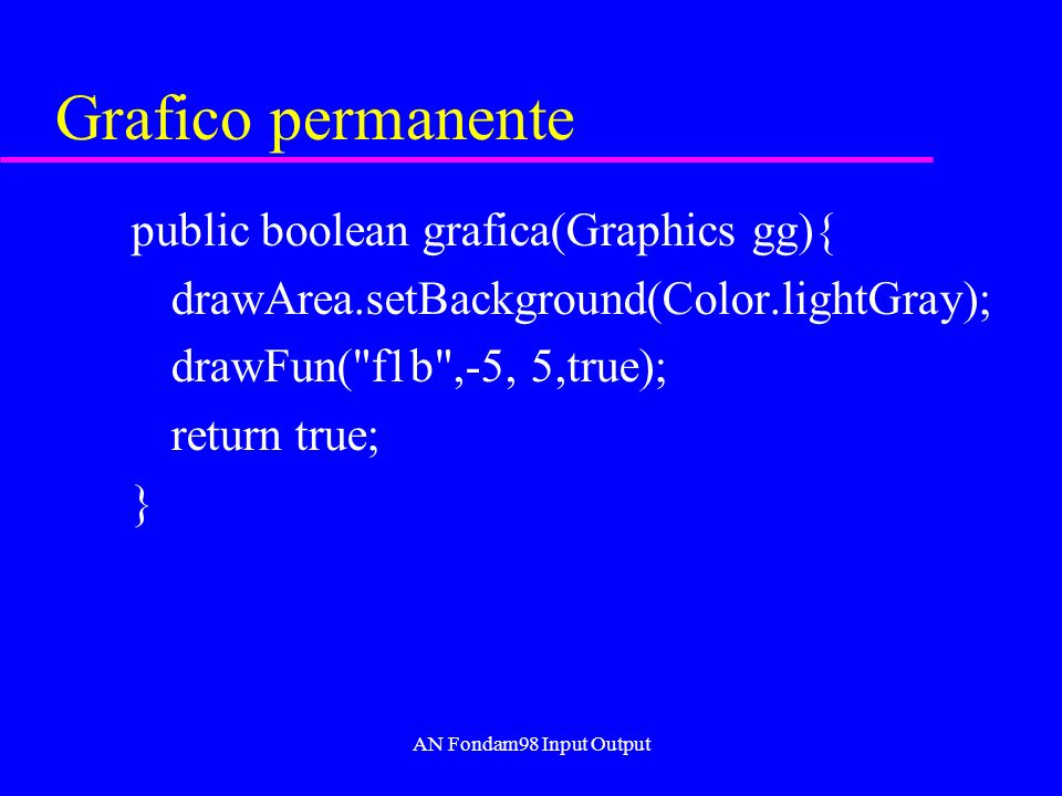 AN Fondam98 Input Output Grafico permanente public boolean grafica(Graphics gg){ drawArea.setBackground(Color.lightGray); drawFun( f1b ,-5, 5,true); return true; }