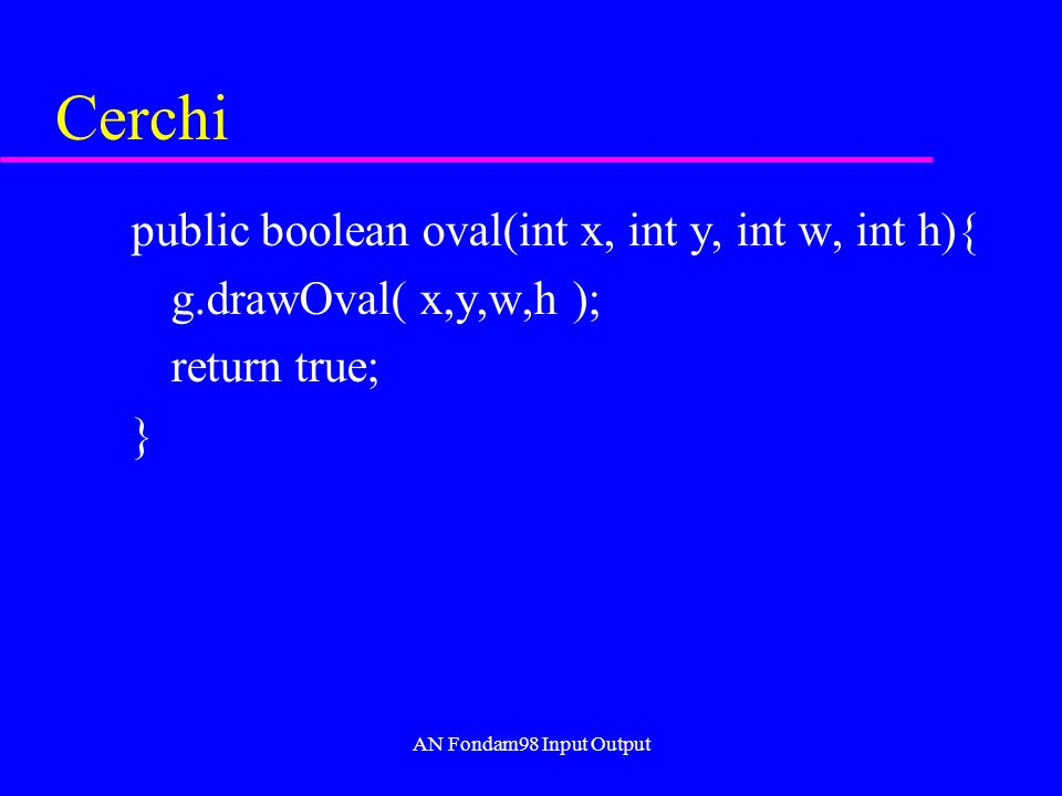 AN Fondam98 Input Output Cerchi public boolean oval(int x, int y, int w, int h){ g.drawOval( x,y,w,h ); return true; }