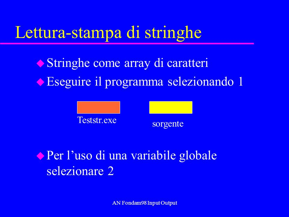 AN Fondam98 Input Output Lettura-stampa di stringhe u Stringhe come array di caratteri u Eseguire il programma selezionando 1 u Per luso di una variab