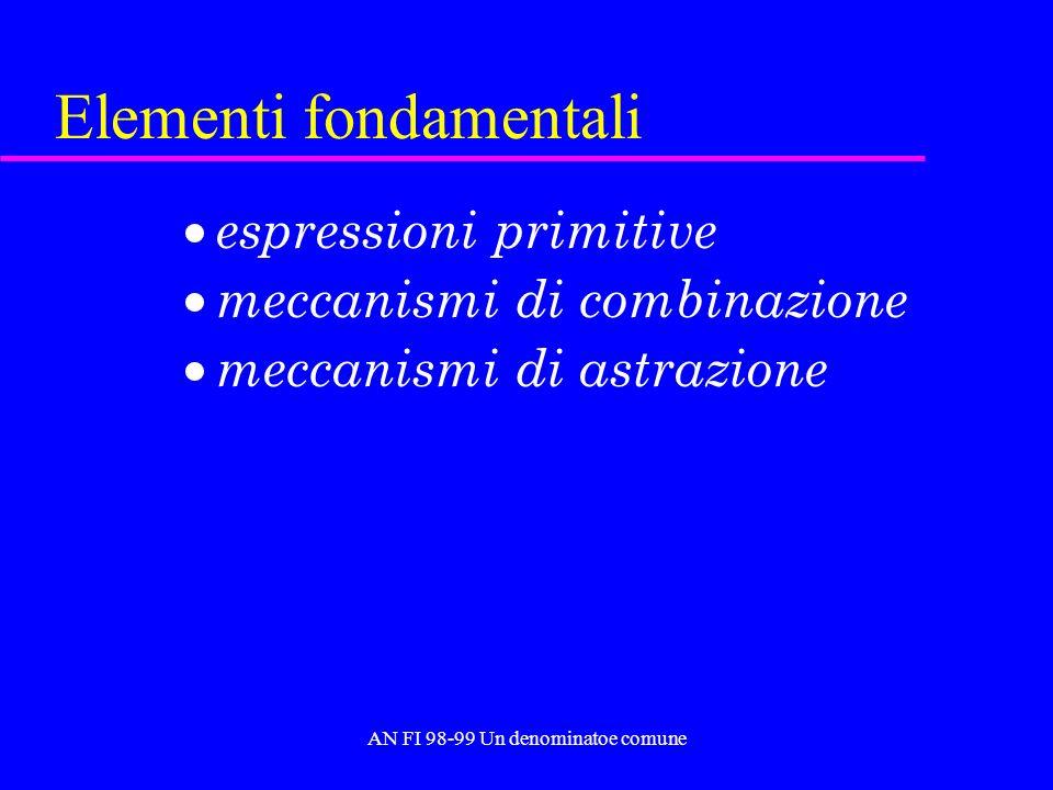 AN FI 98-99 Un denominatoe comune Elementi fondamentali espressioni primitive meccanismi di combinazione meccanismi di astrazione