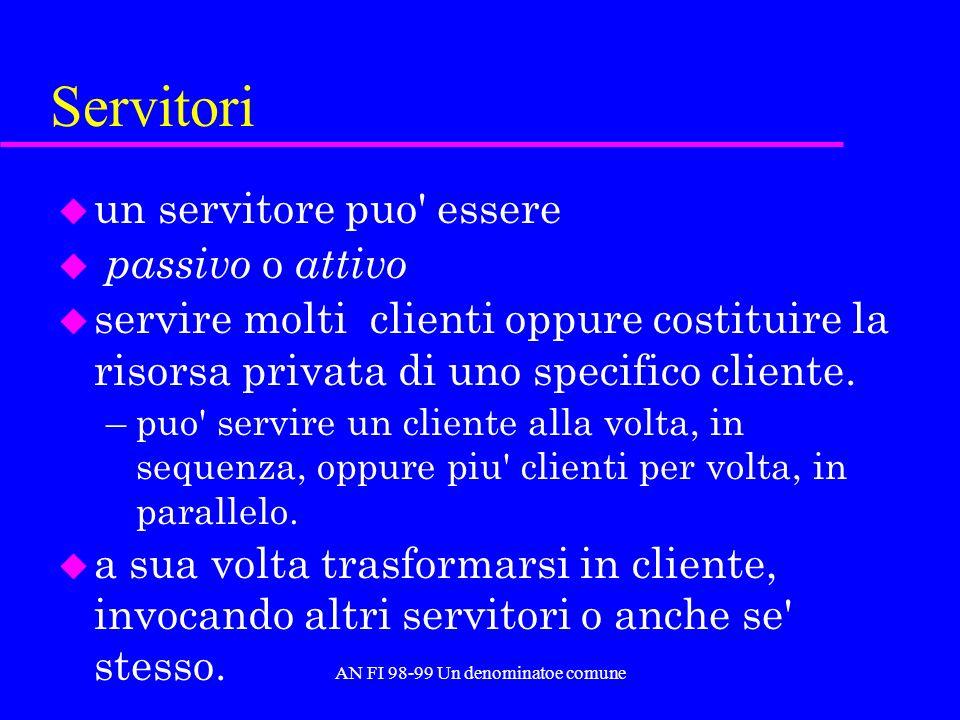 AN FI 98-99 Un denominatoe comune Servitori u un servitore puo' essere u passivo o attivo u servire molti clienti oppure costituire la risorsa privata