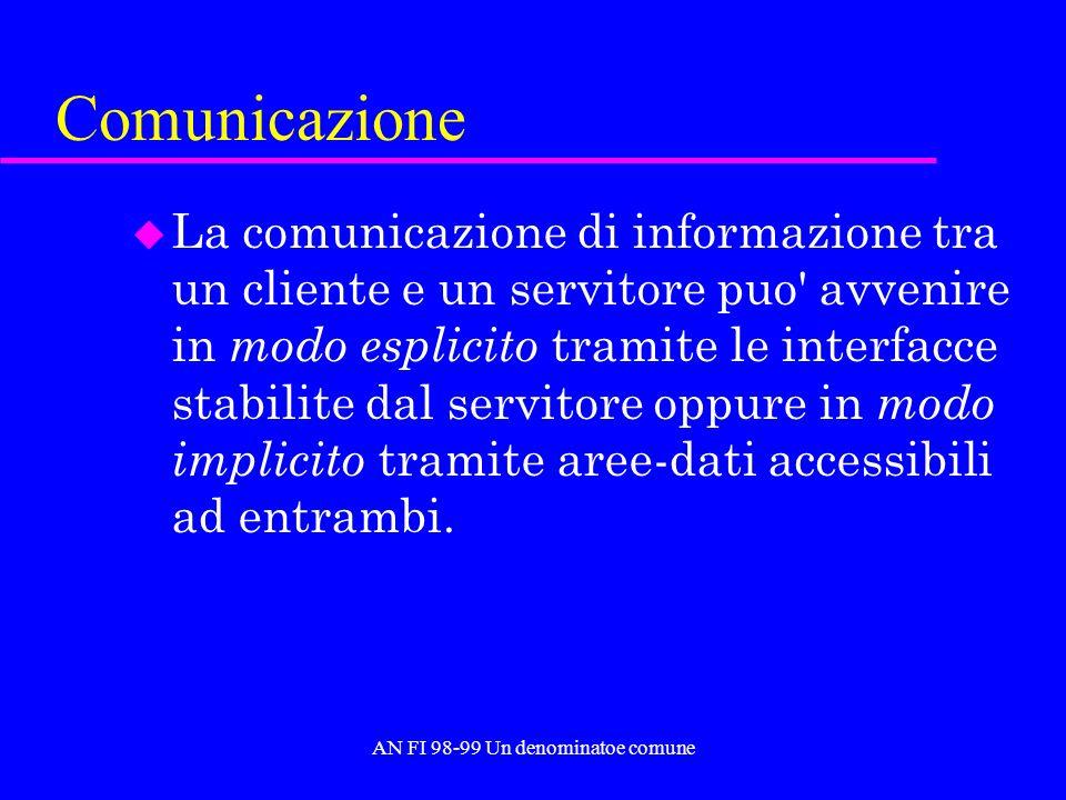 AN FI 98-99 Un denominatoe comune Comunicazione u La comunicazione di informazione tra un cliente e un servitore puo avvenire in modo esplicito tramite le interfacce stabilite dal servitore oppure in modo implicito tramite aree-dati accessibili ad entrambi.