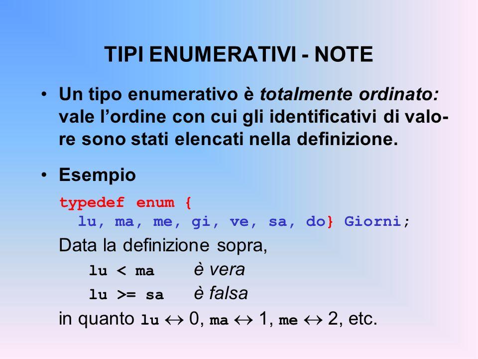 TIPI ENUMERATIVI - NOTE Un tipo enumerativo è totalmente ordinato: vale lordine con cui gli identificativi di valo- re sono stati elencati nella definizione.