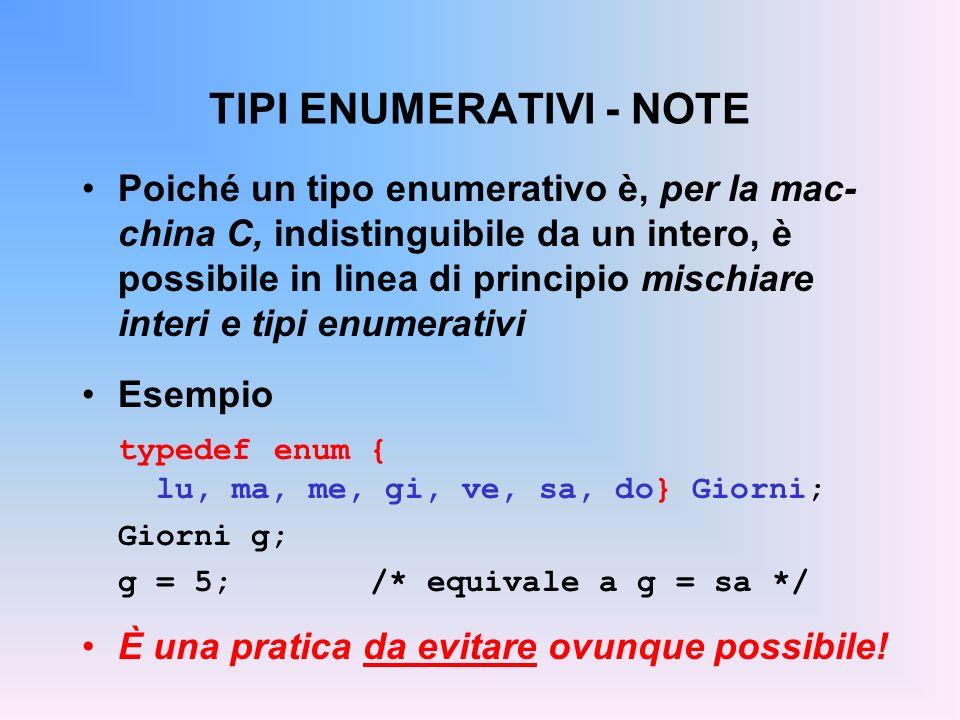 TIPI ENUMERATIVI - NOTE Poiché un tipo enumerativo è, per la mac- china C, indistinguibile da un intero, è possibile in linea di principio mischiare interi e tipi enumerativi Esempio typedef enum { lu, ma, me, gi, ve, sa, do} Giorni; Giorni g; g = 5; /* equivale a g = sa */ È una pratica da evitare ovunque possibile!