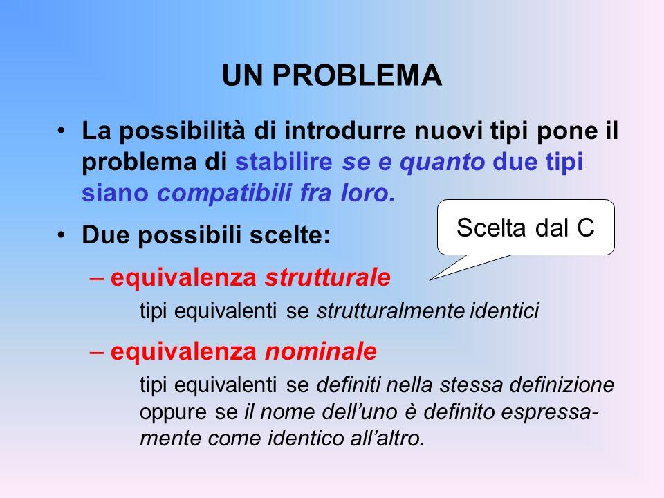 UN PROBLEMA La possibilità di introdurre nuovi tipi pone il problema di stabilire se e quanto due tipi siano compatibili fra loro.