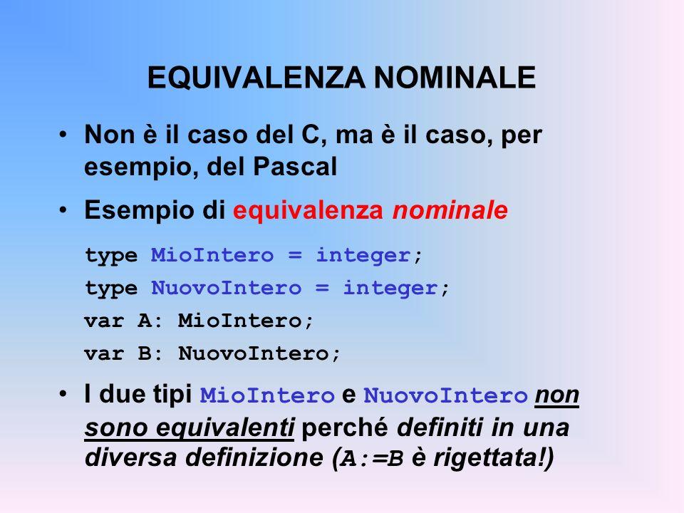 EQUIVALENZA NOMINALE Non è il caso del C, ma è il caso, per esempio, del Pascal Esempio di equivalenza nominale type MioIntero = integer; type NuovoIntero = integer; var A: MioIntero; var B: NuovoIntero; I due tipi MioIntero e NuovoIntero non sono equivalenti perché definiti in una diversa definizione ( A:=B è rigettata!)