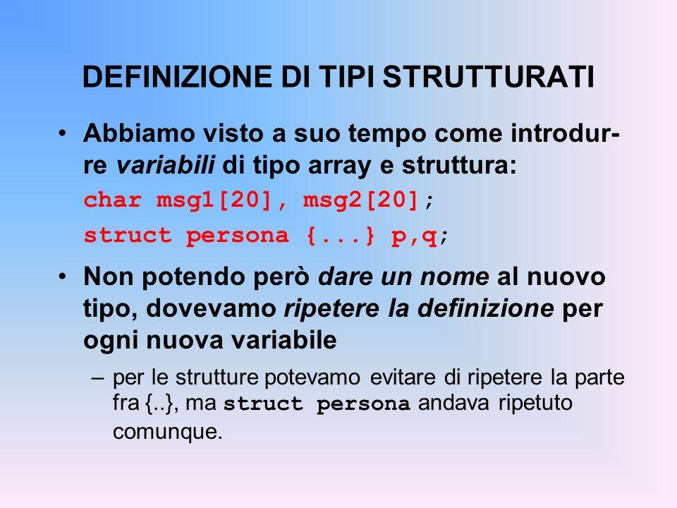 DEFINIZIONE DI TIPI STRUTTURATI Abbiamo visto a suo tempo come introdur- re variabili di tipo array e struttura: char msg1[20], msg2[20]; struct persona {...} p,q; Non potendo però dare un nome al nuovo tipo, dovevamo ripetere la definizione per ogni nuova variabile –per le strutture potevamo evitare di ripetere la parte fra {..}, ma struct persona andava ripetuto comunque.