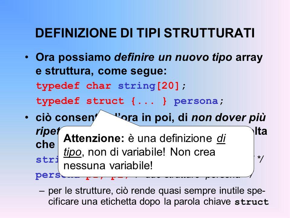 DEFINIZIONE DI TIPI STRUTTURATI Ora possiamo definire un nuovo tipo array e struttura, come segue: typedef char string[20]; typedef struct {...