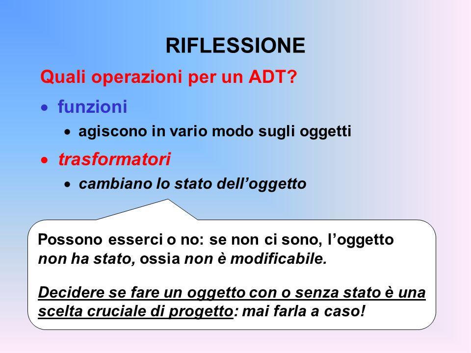 RIFLESSIONE Quali operazioni per un ADT.