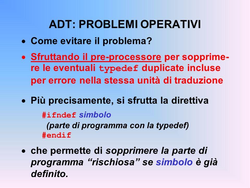 ADT: PROBLEMI OPERATIVI Come evitare il problema.
