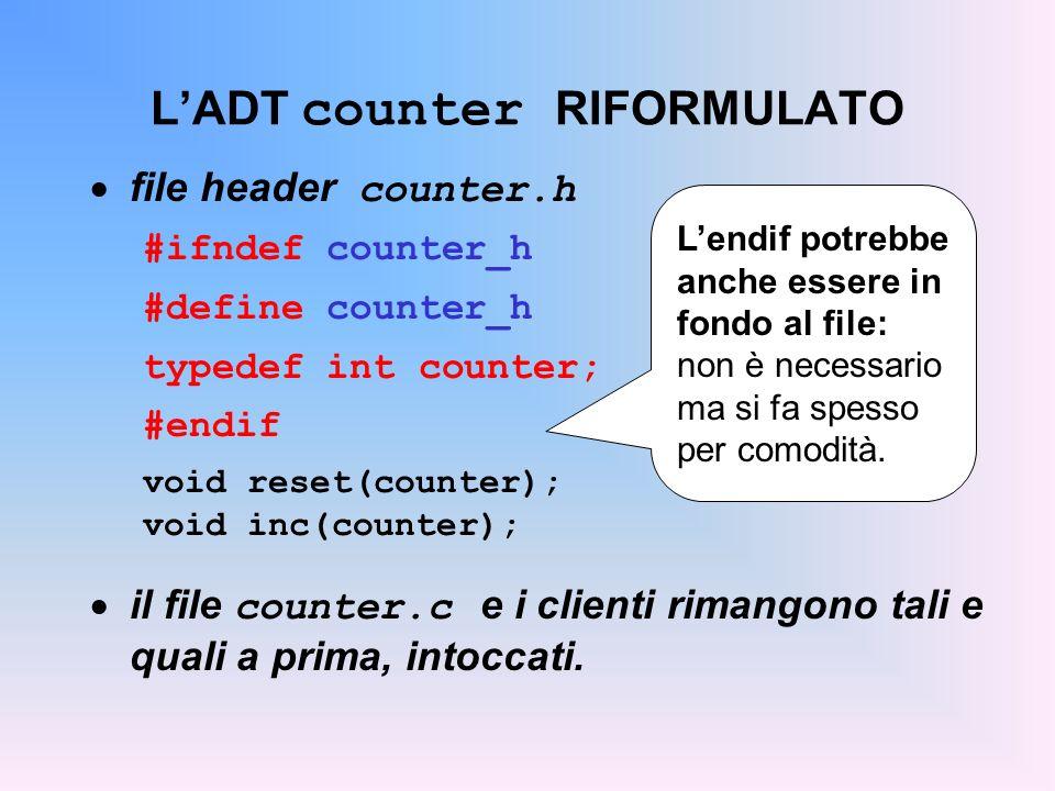 LADT counter RIFORMULATO file header counter.h #ifndef counter_h #define counter_h typedef int counter; #endif void reset(counter); void inc(counter); il file counter.c e i clienti rimangono tali e quali a prima, intoccati.