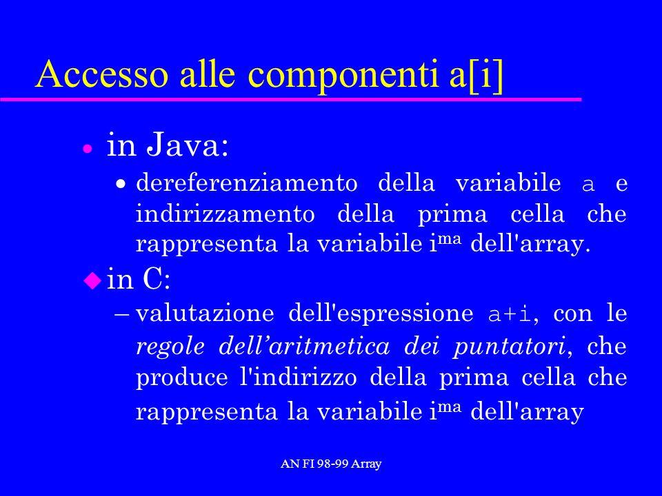 AN FI 98-99 Array Accesso alle componenti a[i] in Java: dereferenziamento della variabile a e indirizzamento della prima cella che rappresenta la variabile i ma dell array.