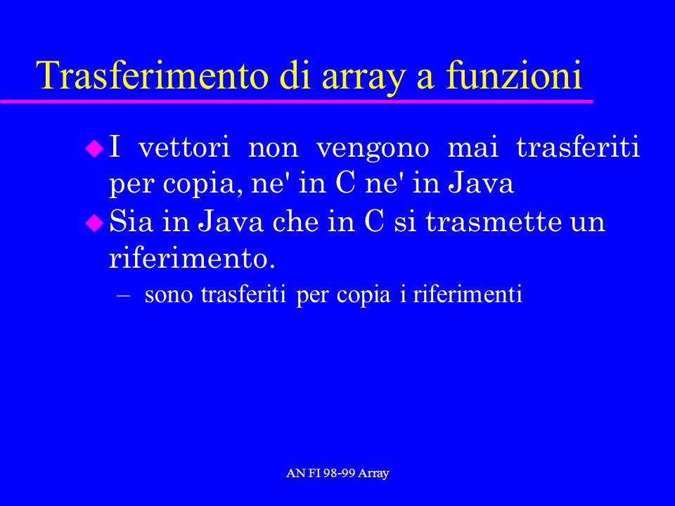 AN FI 98-99 Array Trasferimento di array a funzioni u I vettori non vengono mai trasferiti per copia, ne in C ne in Java u Sia in Java che in C si trasmette un riferimento.