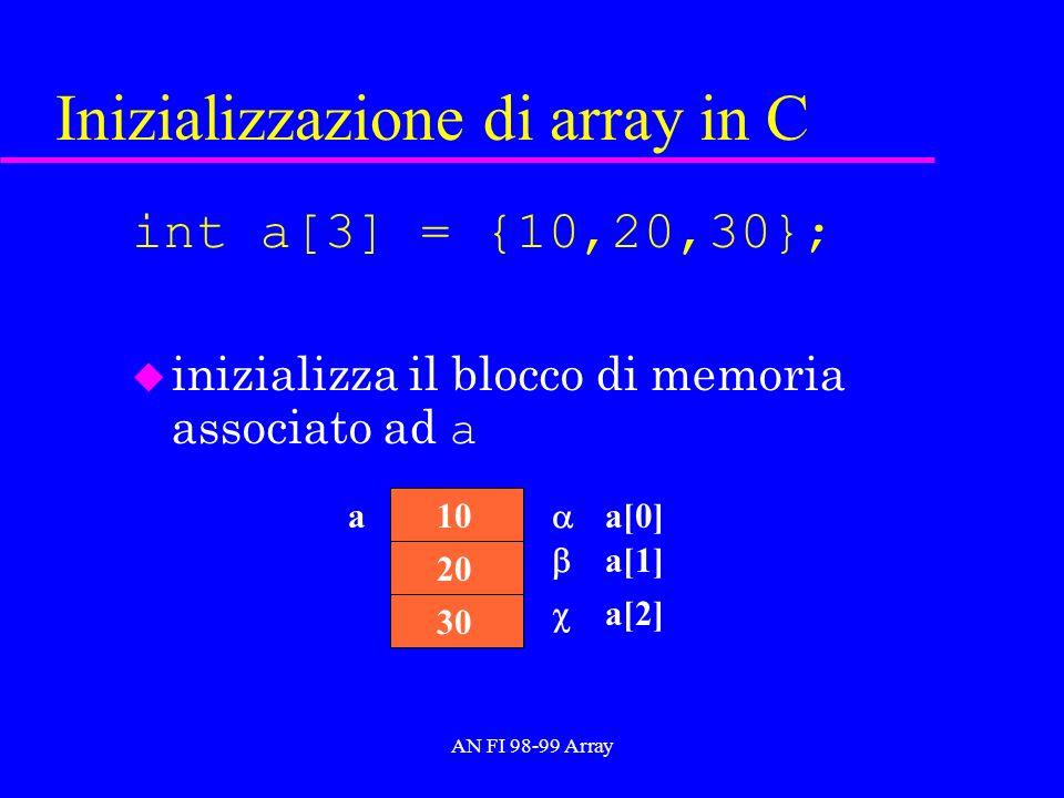 AN FI 98-99 Array Inizializzazione di array in C int a[3] = {10,20,30}; inizializza il blocco di memoria associato ad a 30 a 20 10 a[0] a[1] a[2]