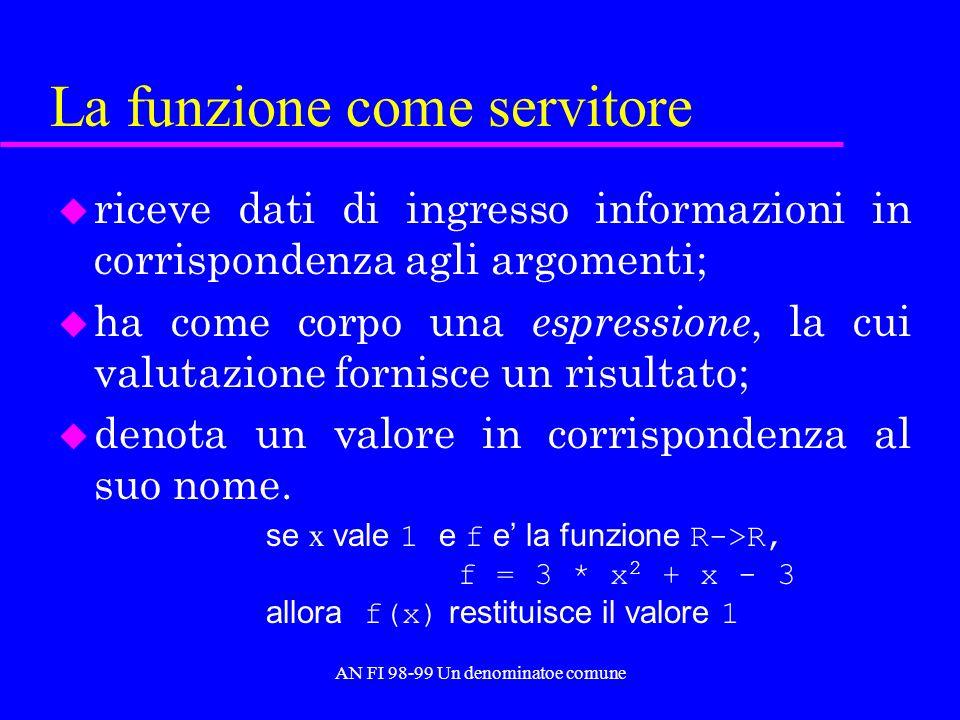 AN FI 98-99 Un denominatoe comune Funzioni ricorsive generali u Le funzioni definibili in termini di un insieme prescelto di primitive e delle precedenti strategie di composizione costituiscono un insieme detto delle funzioni ricorsive generali.