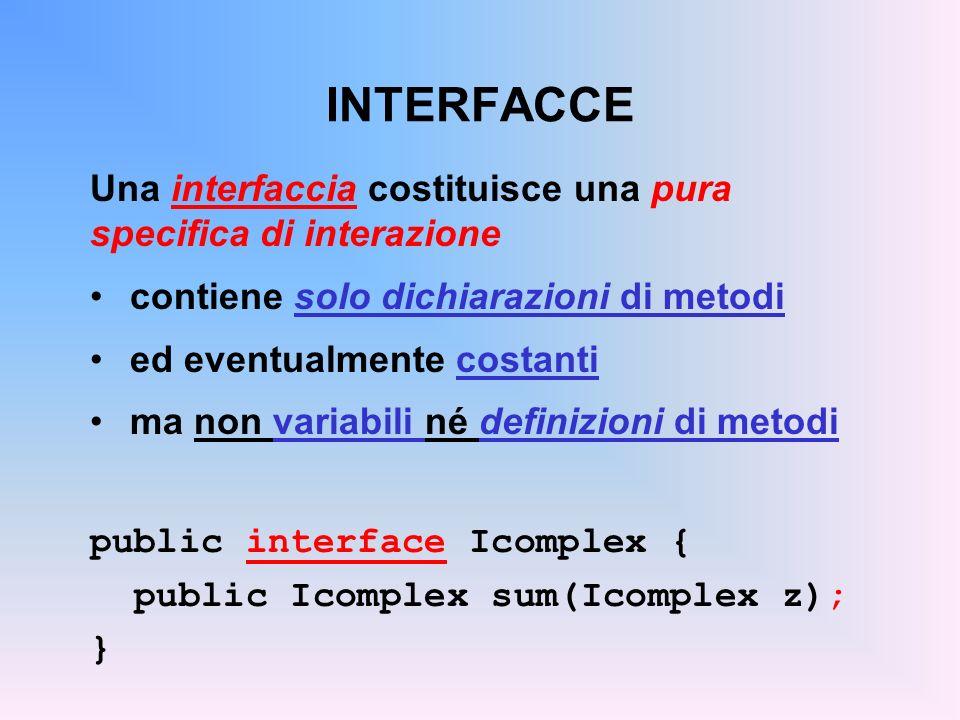 Una interfaccia costituisce una pura specifica di interazione contiene solo dichiarazioni di metodi ed eventualmente costanti ma non variabili né definizioni di metodi public interface Icomplex { public Icomplex sum(Icomplex z); }