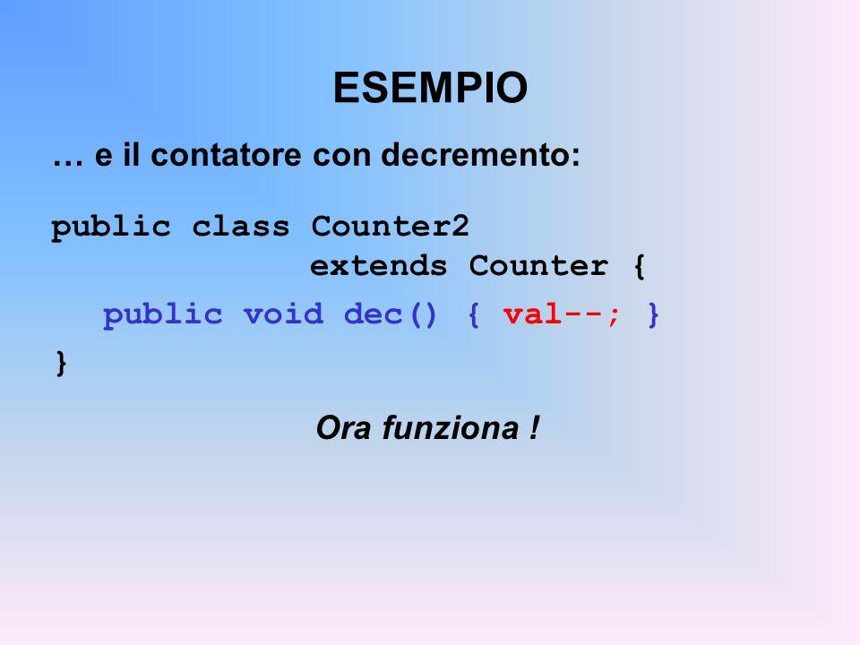 ESEMPIO … e il contatore con decremento: public class Counter2 extends Counter { public void dec() { val--; } } Ora funziona !
