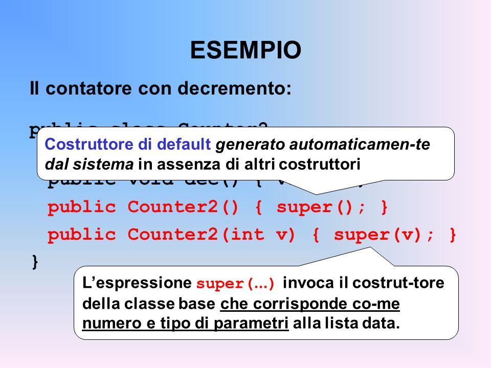 ESEMPIO Il contatore con decremento: public class Counter2 extends Counter { public void dec() { val--; } public Counter2() { super(); } public Counter2(int v) { super(v); } } Lespressione super(...