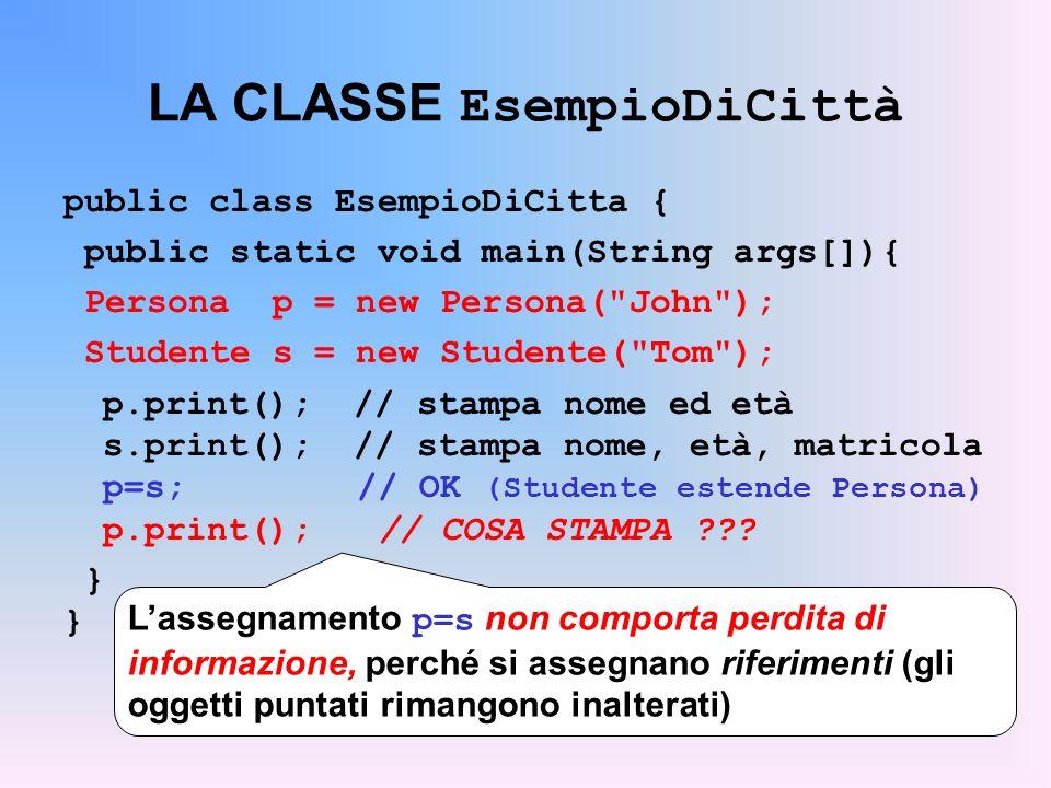 LA CLASSE EsempioDiCittà public class EsempioDiCitta { public static void main(String args[]){ Persona p = new Persona( John ); Studente s = new Studente( Tom ); p.print(); // stampa nome ed età s.print(); // stampa nome, età, matricola p=s; // OK (Studente estende Persona) p.print();// COSA STAMPA .