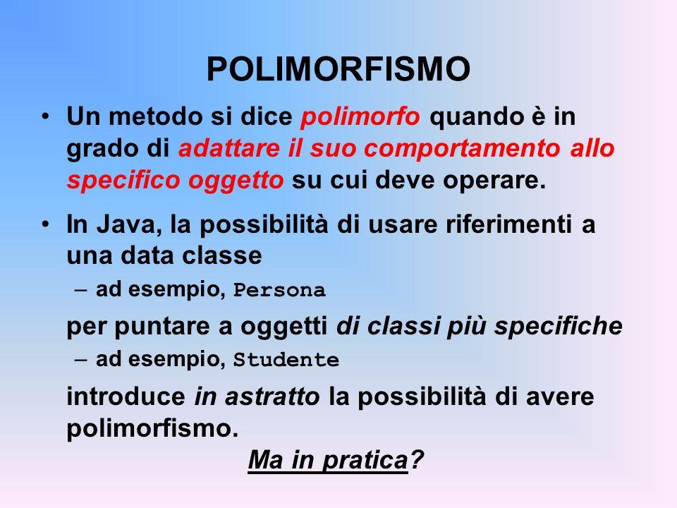 POLIMORFISMO Un metodo si dice polimorfo quando è in grado di adattare il suo comportamento allo specifico oggetto su cui deve operare.