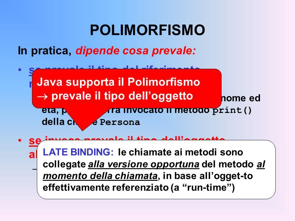 POLIMORFISMO In pratica, dipende cosa prevale: se prevale il tipo del riferimento, non ci sarà mai polimorfismo –in tal caso, p.print() stamperà solo nome ed età, perché verrà invocato il metodo print() della classe Persona se invece prevale il tipo delloggetto, allora cè polimorfismo –in tal caso, p.print() stamperà nome, età e matricola, perché verrà invocato il metodo print() della classe Studente Java supporta il Polimorfismo prevale il tipo delloggetto LATE BINDING: le chiamate ai metodi sono collegate alla versione opportuna del metodo al momento della chiamata, in base allogget-to effettivamente referenziato (a run-time)