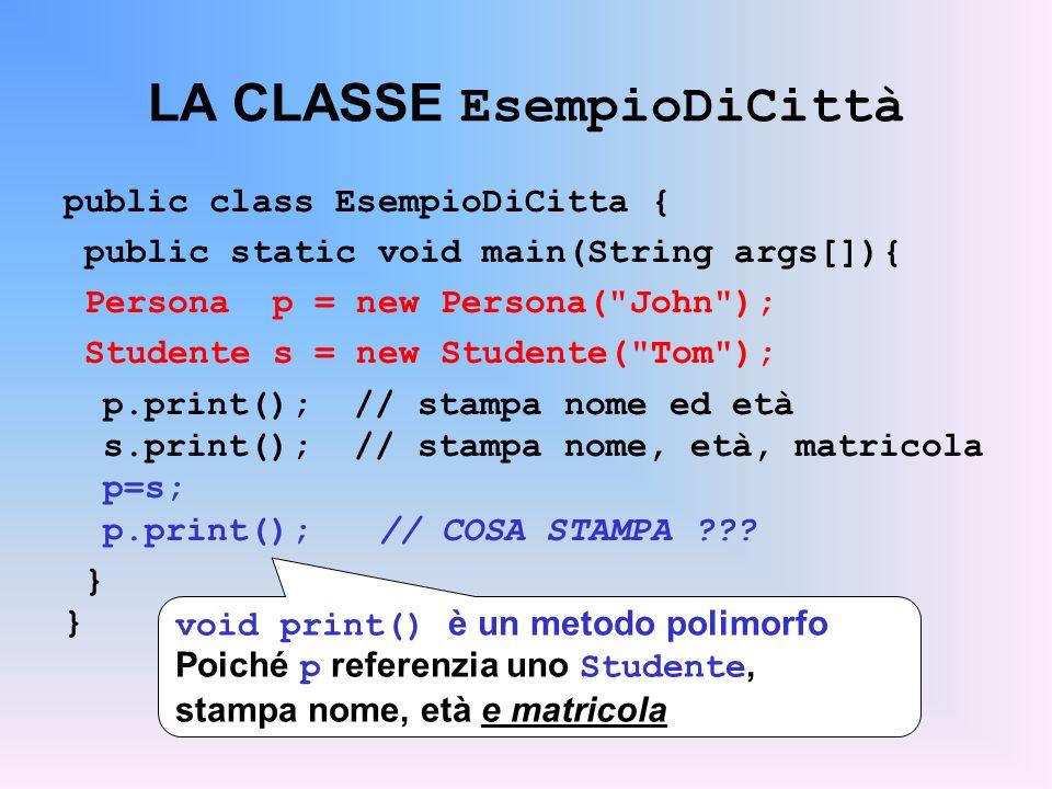 LA CLASSE EsempioDiCittà public class EsempioDiCitta { public static void main(String args[]){ Persona p = new Persona( John ); Studente s = new Studente( Tom ); p.print(); // stampa nome ed età s.print(); // stampa nome, età, matricola p=s; p.print();// COSA STAMPA .