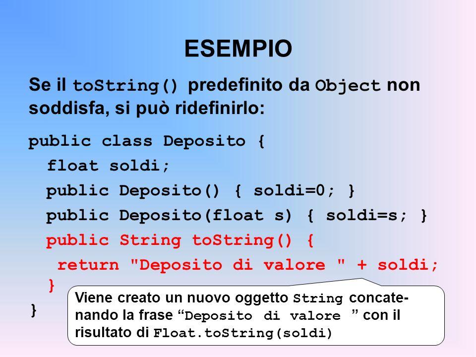 ESEMPIO Se il toString() predefinito da Object non soddisfa, si può ridefinirlo: public class Deposito { float soldi; public Deposito() { soldi=0; } public Deposito(float s) { soldi=s; } public String toString() { return Deposito di valore + soldi; } } Viene creato un nuovo oggetto String concate- nando la frase Deposito di valore con il risultato di Float.toString(soldi)