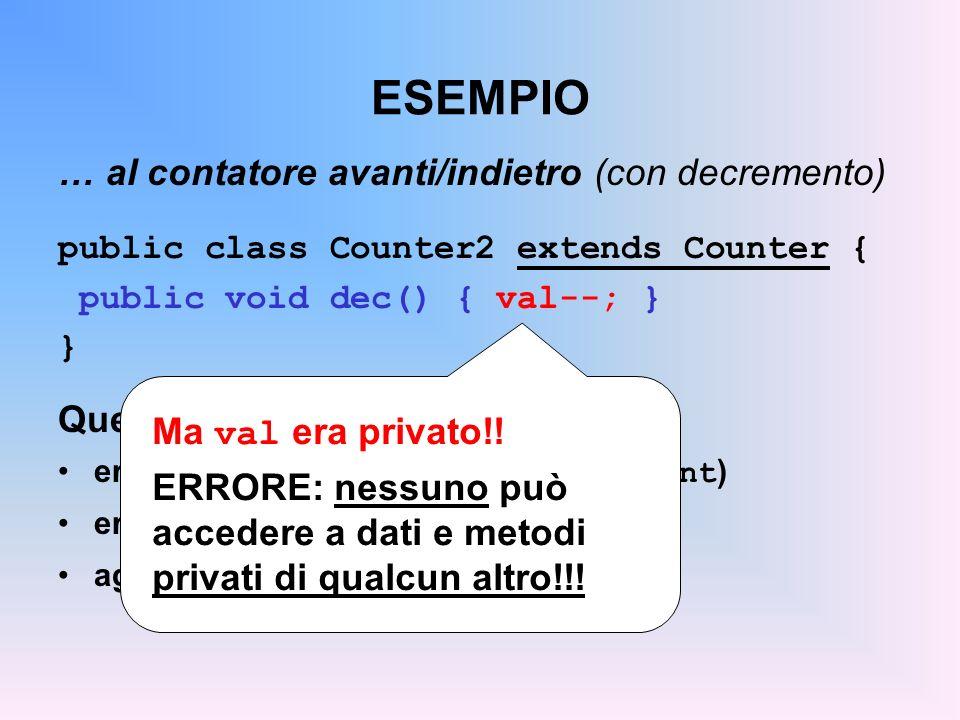 LA CLASSE EsempioDiCittà public class EsempioDiCitta { public static void main(String args[]){ Persona p = new Persona( John ); Studente s = new Studente( Tom ); p.print(); // stampa nome ed età s.print(); // stampa nome, età, matricola p=s; p.print();// COSA STAMPA ??.