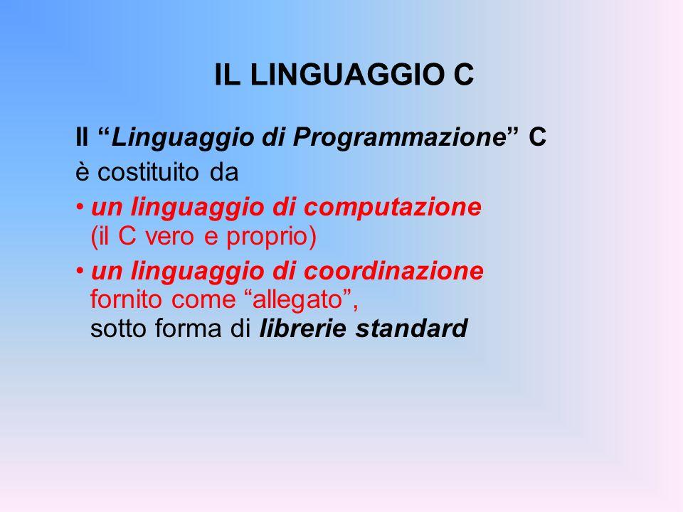 IL LINGUAGGIO C Il Linguaggio di Programmazione C è costituito da un linguaggio di computazione (il C vero e proprio) un linguaggio di coordinazione f