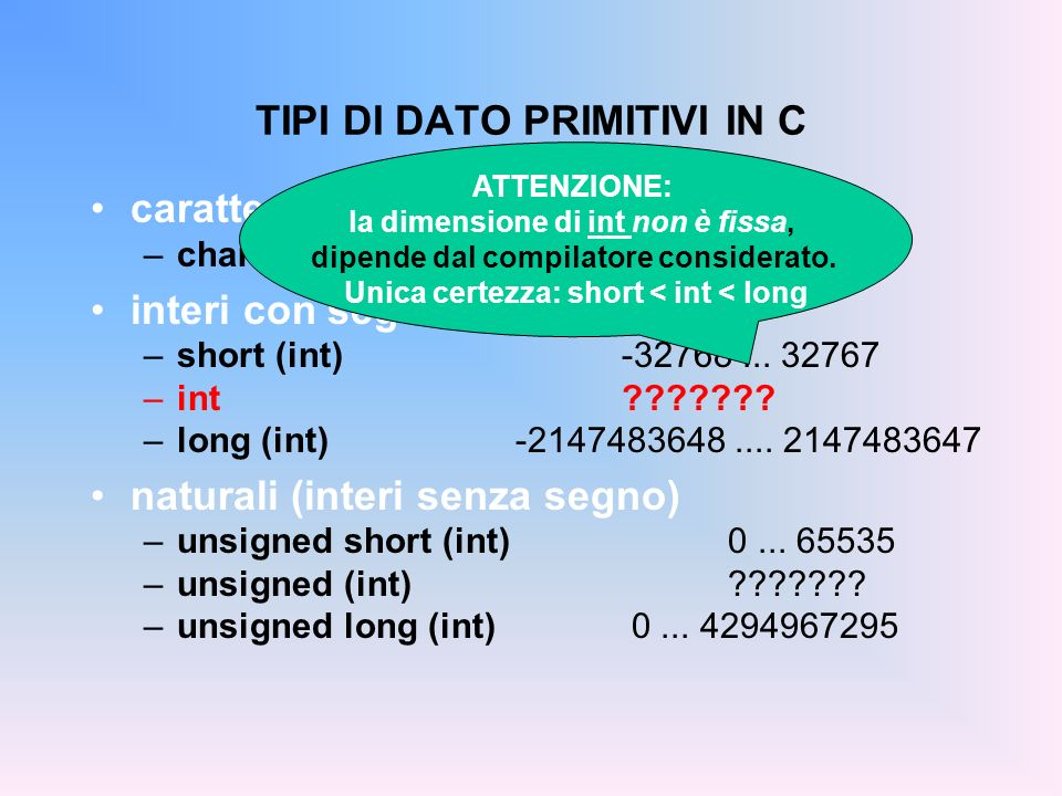 caratteri –charcaratteri ASCII interi con segno –short (int)-32768... 32767 –int??????? –long (int)-2147483648.... 2147483647 naturali (interi senza s
