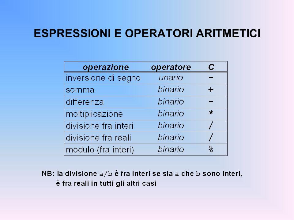 ESPRESSIONI E OPERATORI ARITMETICI