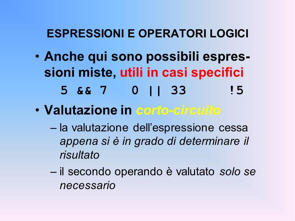 ESPRESSIONI E OPERATORI LOGICI Anche qui sono possibili espres- sioni miste, utili in casi specifici 5 && 7 0 || 33 !5 Valutazione in corto-circuito –
