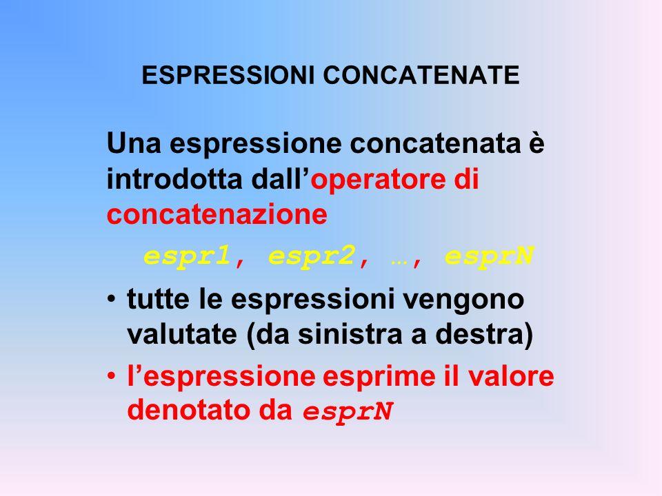 ESPRESSIONI CONCATENATE Una espressione concatenata è introdotta dalloperatore di concatenazione espr1, espr2, …, esprN tutte le espressioni vengono v