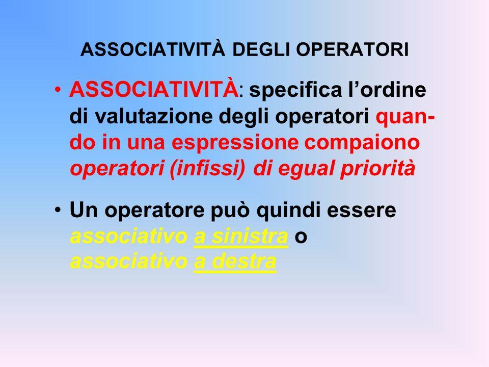 ASSOCIATIVITÀ DEGLI OPERATORI ASSOCIATIVITÀ: specifica lordine di valutazione degli operatori quan- do in una espressione compaiono operatori (infissi