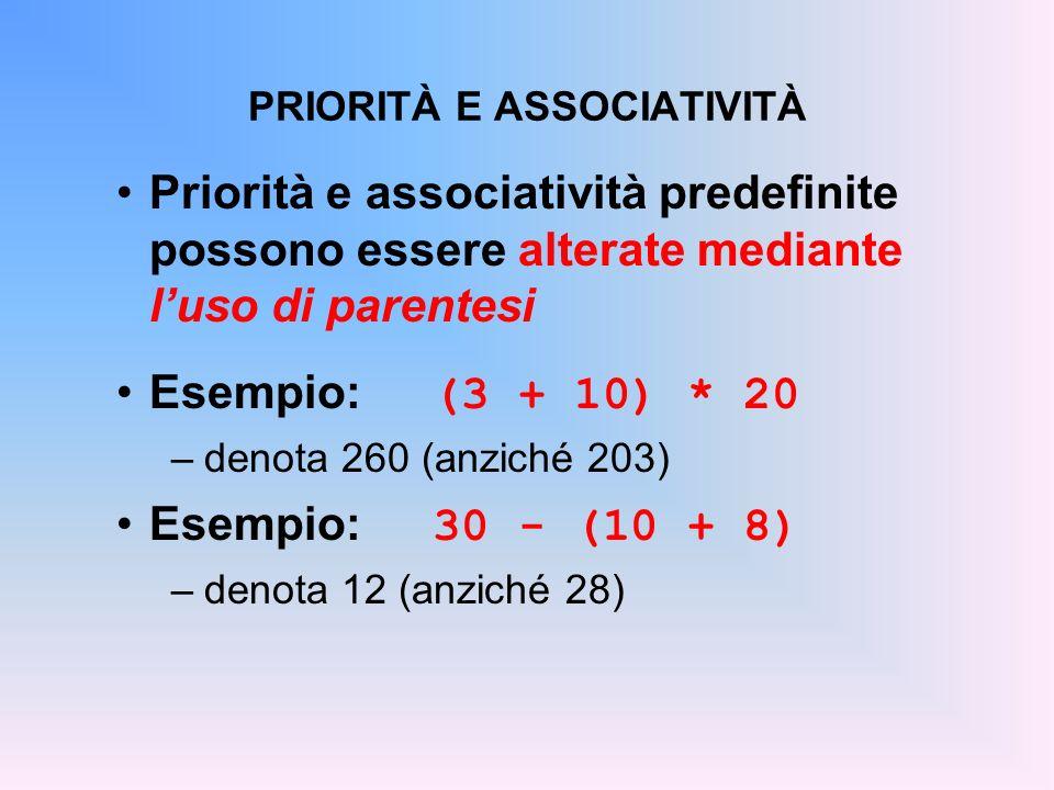 PRIORITÀ E ASSOCIATIVITÀ Priorità e associatività predefinite possono essere alterate mediante luso di parentesi Esempio: (3 + 10) * 20 –denota 260 (a