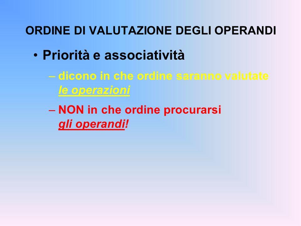 ORDINE DI VALUTAZIONE DEGLI OPERANDI Priorità e associatività –dicono in che ordine saranno valutate le operazioni –NON in che ordine procurarsi gli o