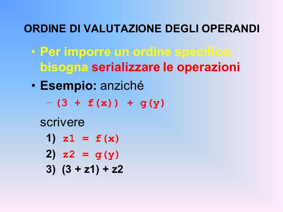 ORDINE DI VALUTAZIONE DEGLI OPERANDI Per imporre un ordine specifico, bisogna serializzare le operazioni Esempio: anziché –(3 + f(x)) + g(y) scrivere