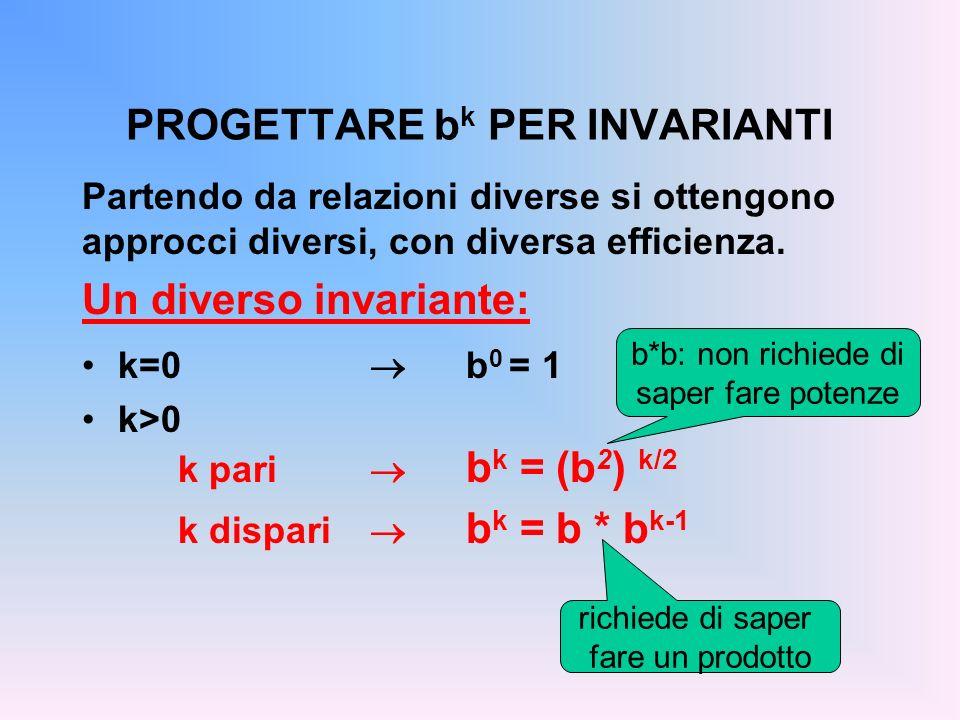 PROGETTARE b k PER INVARIANTI Partendo da relazioni diverse si ottengono approcci diversi, con diversa efficienza. Un diverso invariante: k=0 b 0 = 1
