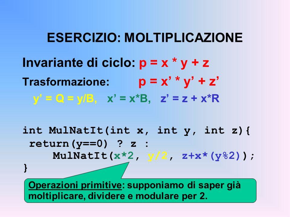ESERCIZIO: MOLTIPLICAZIONE Invariante di ciclo: p = x * y + z Trasformazione: p = x * y + z y = Q = y/B, x = x*B, z = z + x*R int MulNatIt(int x, int